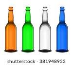set of four empty beer bottles  ... | Shutterstock .eps vector #381948922