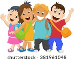 group of kids going to school... | Shutterstock . vector #381961048