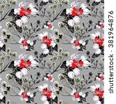 seamless pattern with white red ... | Shutterstock . vector #381964876