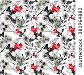 seamless pattern with white red ... | Shutterstock . vector #381964882