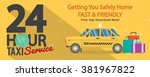 24 hour taxi service 1500x600... | Shutterstock .eps vector #381967822
