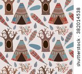 trees and tents. vector... | Shutterstock .eps vector #382014538