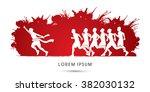 group or runners  the winner... | Shutterstock .eps vector #382030132