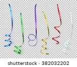 set of colorful ribbons on...   Shutterstock .eps vector #382032202