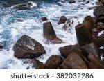 concrete block breakwater hit... | Shutterstock . vector #382032286