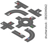 isometric road turns.  | Shutterstock .eps vector #382034062
