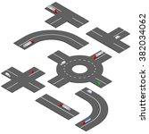 isometric road turns.  | Shutterstock .eps vector #382034062