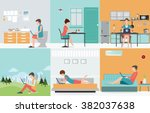 freelance set with various... | Shutterstock .eps vector #382037638