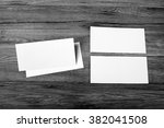 blank flyer over wooden... | Shutterstock . vector #382041508