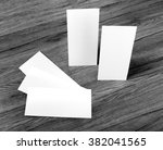 blank flyer over wooden... | Shutterstock . vector #382041565