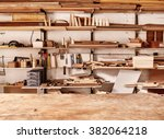 woodwork workshop wall with... | Shutterstock . vector #382064218