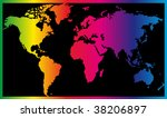 world map painted in seven... | Shutterstock .eps vector #38206897