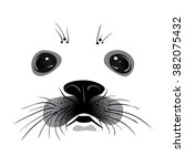 baby seal face. vector... | Shutterstock .eps vector #382075432