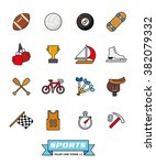 Sports Filled Line Icons Vecto...