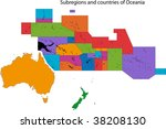 colorful oceania map separated... | Shutterstock . vector #38208130