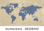 retro styled map of the world.... | Shutterstock .eps vector #38208445