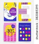 template. set of trendy posters ... | Shutterstock .eps vector #382085395