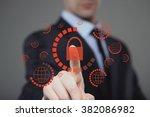 businessman pressing cyber... | Shutterstock . vector #382086982