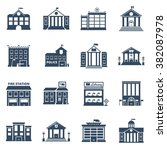 government building black icons ... | Shutterstock .eps vector #382087978