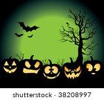 five jack o lanterns sitting in ... | Shutterstock .eps vector #38208997