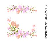 two isolated floral elements on ... | Shutterstock .eps vector #382092412
