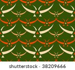 Classic japanese birds seamless textile pattern - stock vector