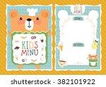 kids cafe menu design template... | Shutterstock .eps vector #382101922