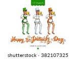 st patricks day lettering beer... | Shutterstock .eps vector #382107325
