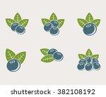 blueberries set | Shutterstock .eps vector #382108192