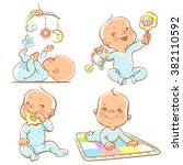 set of babies playing toys.... | Shutterstock .eps vector #382110592
