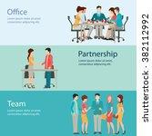 office worker horizontal banner ... | Shutterstock .eps vector #382112992