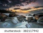 seascape  sunset on the beach... | Shutterstock . vector #382117942