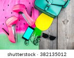 fashion woman accessories over... | Shutterstock . vector #382135012