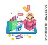 e commerce concept flat vector... | Shutterstock .eps vector #382138708