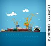 sea port   cranes load or... | Shutterstock . vector #382160485