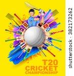 illustration of batsman playing ... | Shutterstock .eps vector #382173262