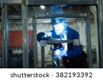 front close up of a worker... | Shutterstock . vector #382193392