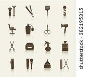 barber shop vintage monochrome... | Shutterstock .eps vector #382195315