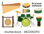 collection of percussion... | Shutterstock .eps vector #382200292