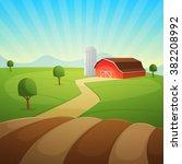 red farm barn  countryside... | Shutterstock .eps vector #382208992