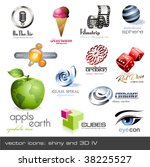 vector icons  shiny and 3d  ... | Shutterstock .eps vector #38225527