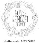 vector sketch house remodel... | Shutterstock .eps vector #382277002