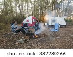 mother and kids camping with... | Shutterstock . vector #382280266