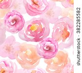 Stock photo seamless pattern with hand painted watercolor roses in bright pink colors inspired by spring garden 382285582