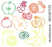 contour fruits image. isolated... | Shutterstock .eps vector #382287232