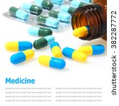 pills and pill bottle isolated