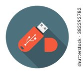 flash drive flat icon with long ...