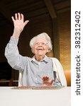 senior woman playing bingo | Shutterstock . vector #382312402