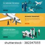 airport web banner set. concept ... | Shutterstock .eps vector #382347055