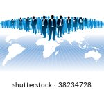 Businesspeople are standing on a large world map. - stock vector